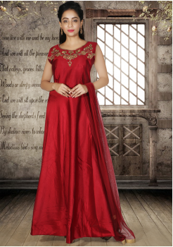 Designer Maroon Color Party Wear Gown