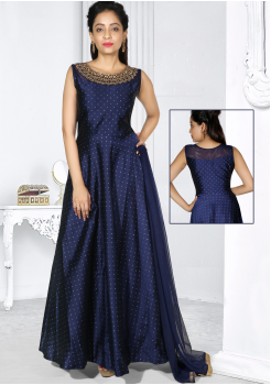 Pretty Navy Blue Color Party Wear Gown