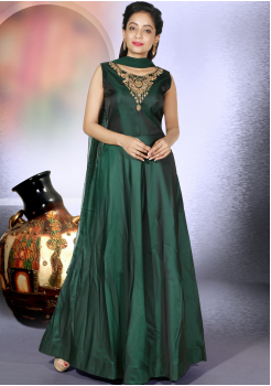 Designer Deep Green Color Party Wear Gown