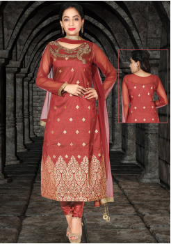 Rusty Red Silk Designer Straight Cut Chudidar