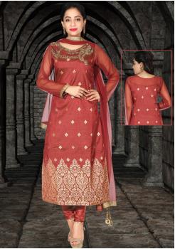 Rusty Red Silk Designer Straight Cut Chudidar