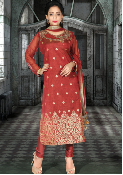 Rusty Red Silk Designer Straight Cut Suit