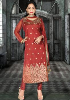 Rusty Red Silk Designer Straight Cut Suit
