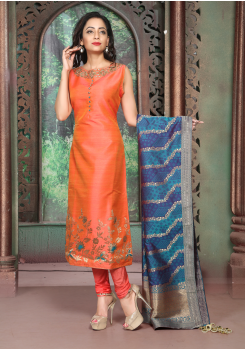 Orange Color Silk Designer Suit