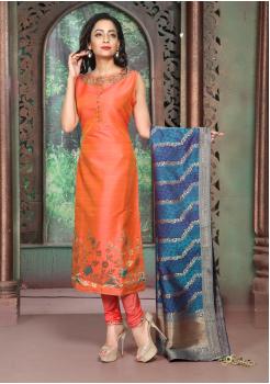 Orange Color Silk Designer Suit