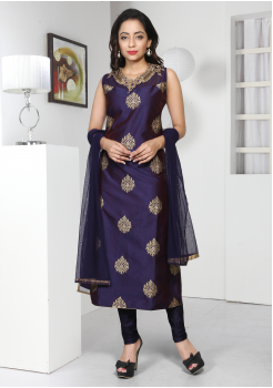 Navy Blue Color Silk Designer Suit