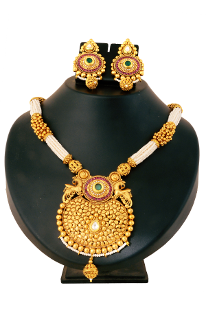 Gold with White Small Pearl Designer Set