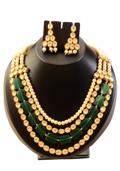 Green Crystal and White Pearl Kundan Set