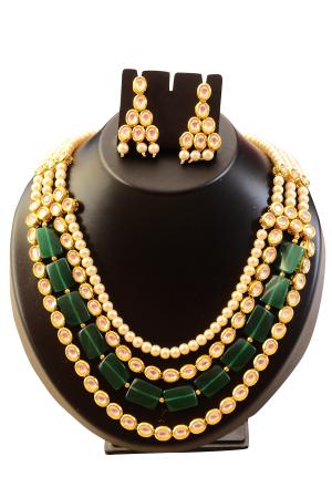 Green Crystal and White Pearl Kundan Set