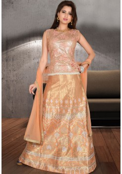 PEACH GOLD LEHENGA CHOLI