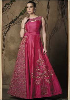 DARK PINK COLOR ART SILK FABRIC DESIGNER GOWN