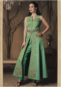 GREEN COLOR ART SILK FABRIC DESIGNER INDO WESTERN OUTFIT
