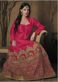 DARK PINK COLOR ART SILK DESIGNER GOWN