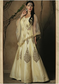 CREAM COLOR ART SILK FABRIC DESIGNER GOWN