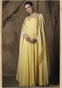 YELLOW COLOR ART SILK FABRIC DESIGNER GOWN