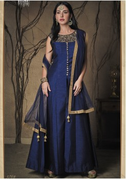 NAVY BLUE COLOR ART SILK FABRIC DESIGNER GOWN