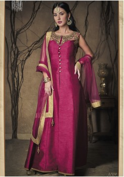 PINK COLOR ART SILK FABRIC DESIGNER GOWN