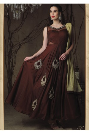 BROWN COLOR ART SILK FABRIC DESIGNER GOWN