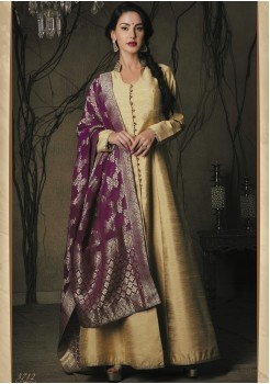 GOLD CREAM COLOR ART SILK FABRIC DESIGNER GOWN