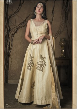 CREAM COLOR ART SILK DESIGNER GOWN