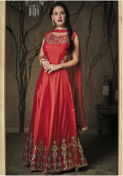 DARK RED COLOR ART SILK DESIGNER GOWN