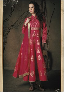 PINK COLOR ART SILK DESIGNER GOWN