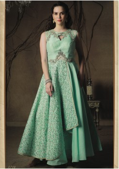 PARROT GREEN COLOR ART SILK DESIGNER GOWN