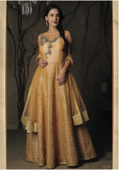 DESIGNER PEACH COLOR SILK DESIGNER GOWN