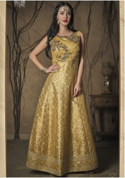 GOLD COLOR ART SILK DESIGNER GOWN