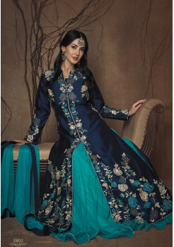 NAVY BLUE AND AQUA BLUE CREAM ART SILK DESIGNER GOWN