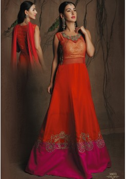 HALF RED HALF PINK CREAM ART SILK DESIGNER GOWN
