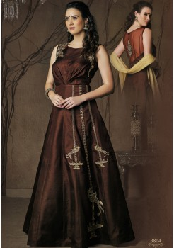 DARK BROWN ART SILK DESIGNER GOWN
