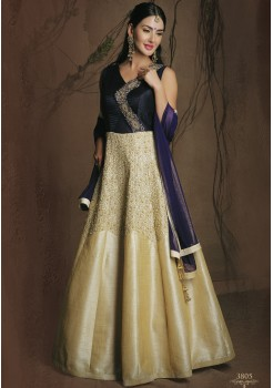 DESIGNER NAVY BLUE AND CREAM SILK GOWN