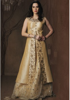 GOLD CREAM ART SILK DESIGNER GOWN