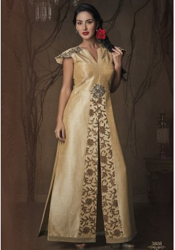 GOLD CREAM COLOR ART SILK DESIGNER FRONT SLIT GOWN