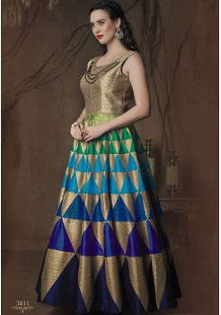 GOLDEN COLOR ART SILK FABRIC DESIGNER GOWN