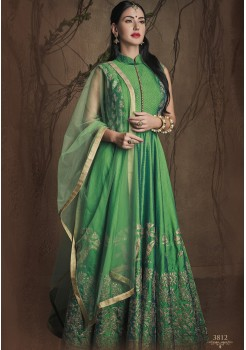 GREEN COLOR ART SILK FABRIC DESIGNER GOWN