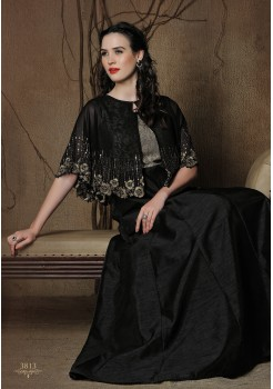 BLACK COLOR ART SILK FABRIC DESIGNER GOWN