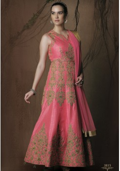 PINK COLOR RAW SILK DESIGNER GOWN