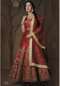 DARK RED ART SILK GOWN