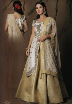 HALF WHITE HALF GOLD ART SILK ANARKALI
