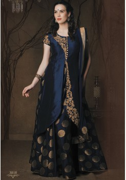 NAVY BLUE SILK GOWN