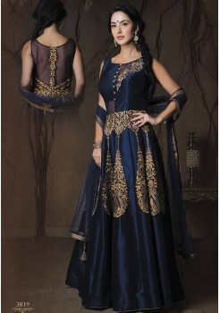 NAVY BLUE ART SILK GOWN