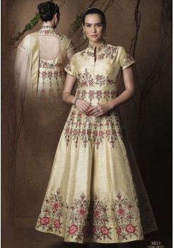 CREAM ART SILK GOWN