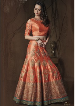 LIGHT RED ART SILK LEHENGA