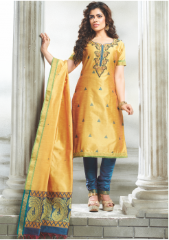 Golden with Blue Color Designer Party Wear Suit
