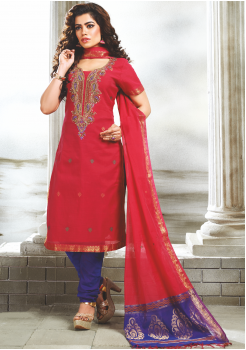 Red with Blue Color Designer Party Wear Suit