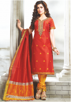 Red Color Designer Party Wear Suit