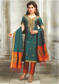 Green with Orange Color Designer Party Wear Suit