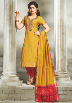 Yellow with Red Color Designer Party Wear Suit